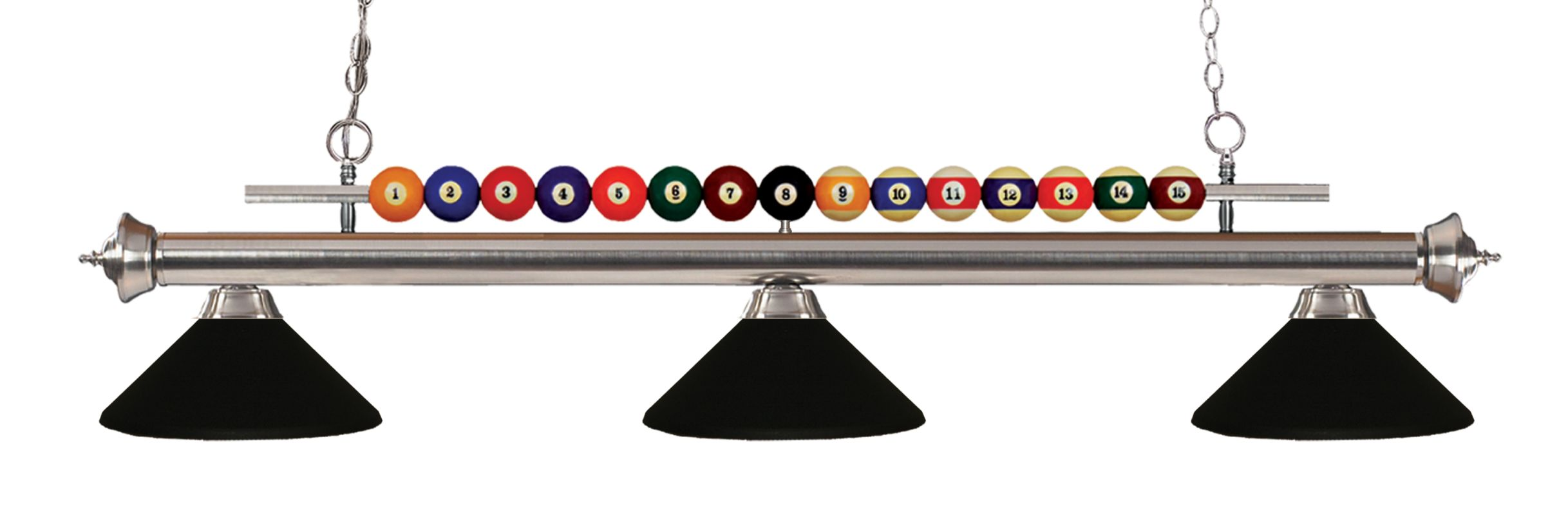 Z-Lite 170-MMB Shark 3 Light Billiard Chandelier with Black Metal Sale $470.00 ITEM: bci2630286 ID#:170BN-MMB UPC: 685659048476 :