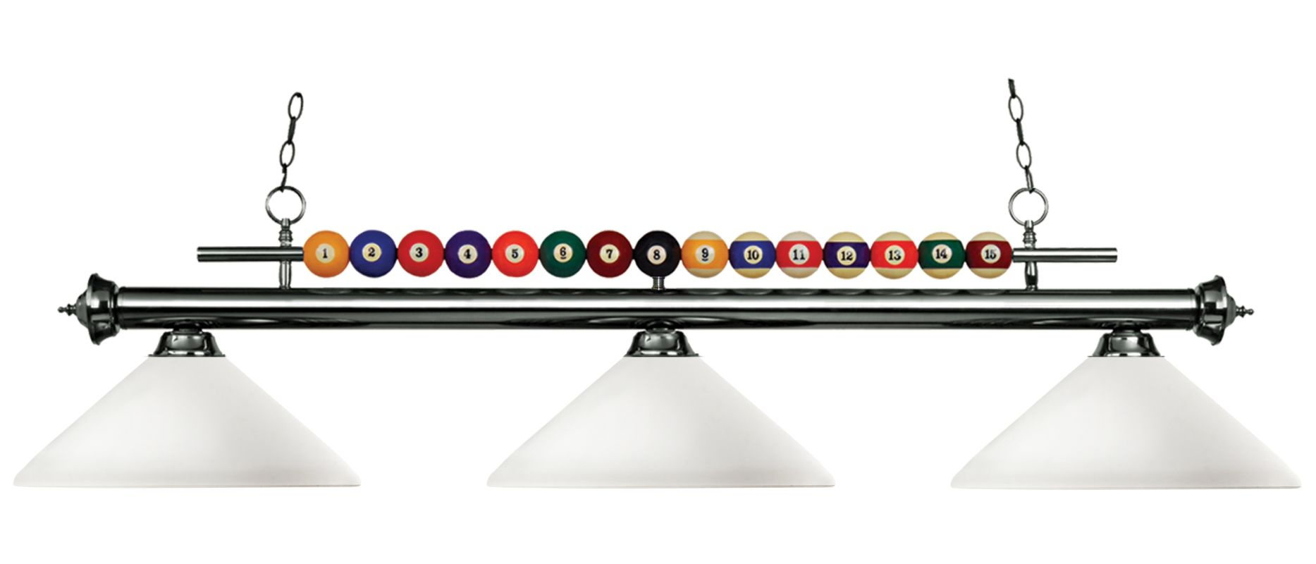 Z-Lite 170-AMO14 Shark 3 Light Billiard Chandelier with White Glass