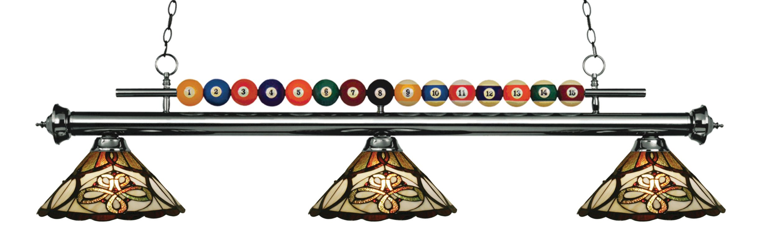Z-Lite 170-Z14-10 Shark 3 Light Billiard Chandelier with Multi-Colored