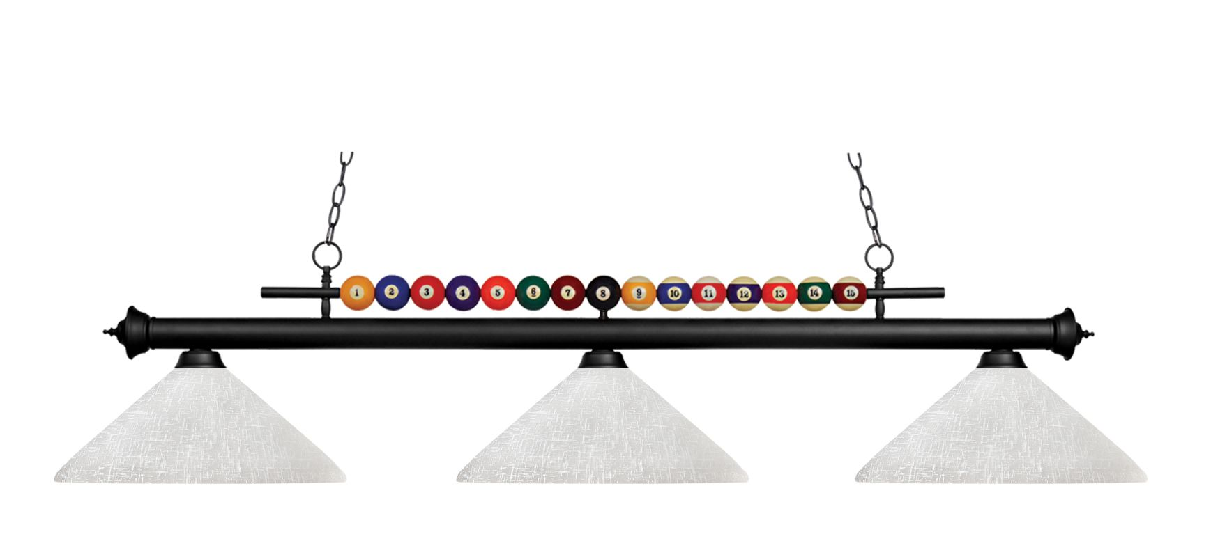 Z-Lite 170-AWL14 Shark 3 Light Billiard Chandelier with White Glass