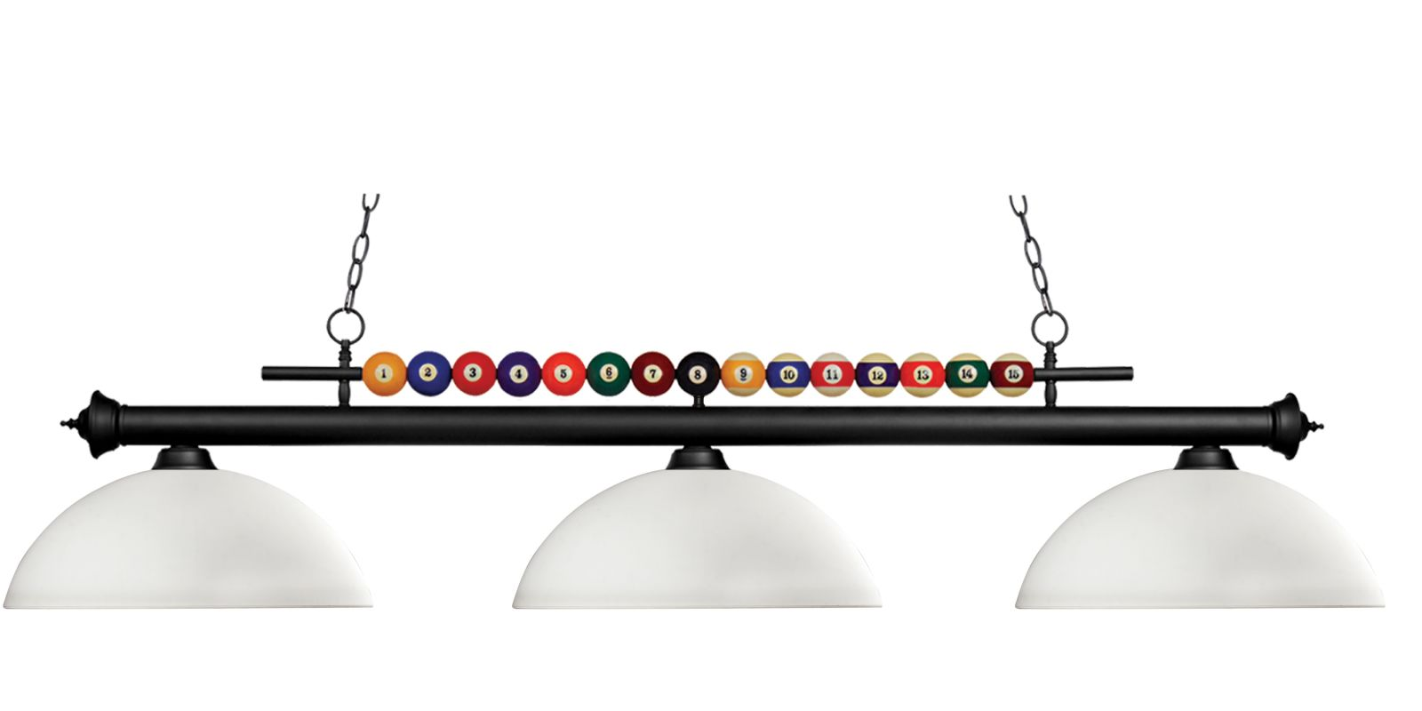 Z-Lite 170-DMO14 Shark 3 Light Billiard Chandelier with White Glass