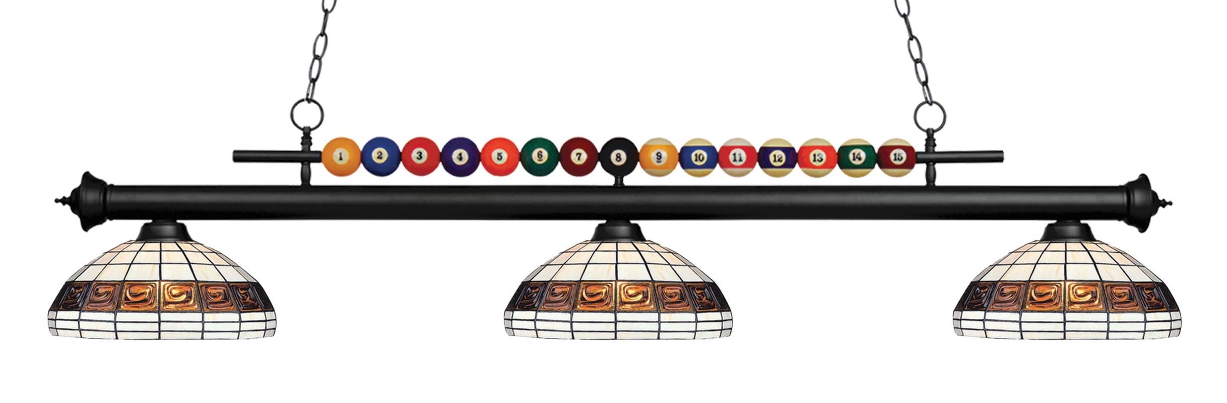 Z-Lite 170-F14-1 Shark 3 Light Billiard Chandelier with Multi-Colored Sale $990.00 ITEM: bci2630359 ID#:170MB-F14-1 UPC: 685659049206 :