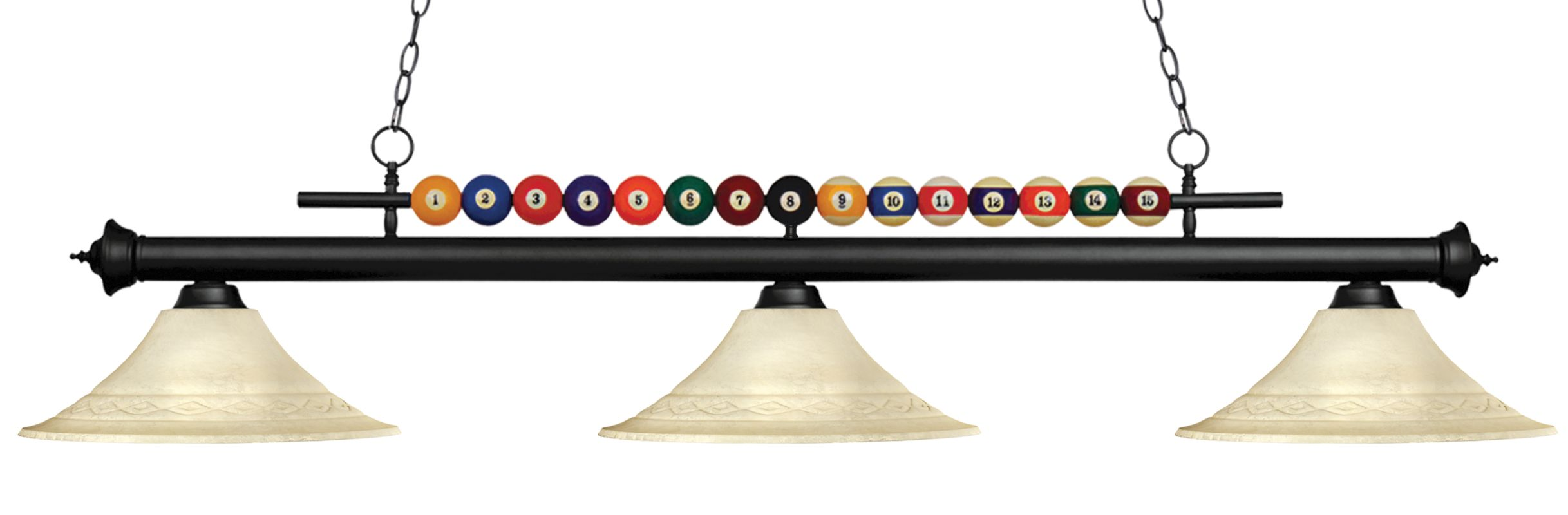Z-Lite 170-FGM16 Shark 3 Light Billiard Chandelier with Cream Glass