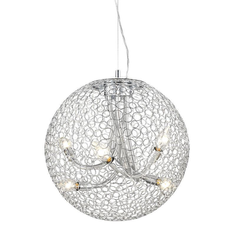 Z-Lite 175-18 Saatchi 6 Light Full Sized Pendant with Chrome Shade