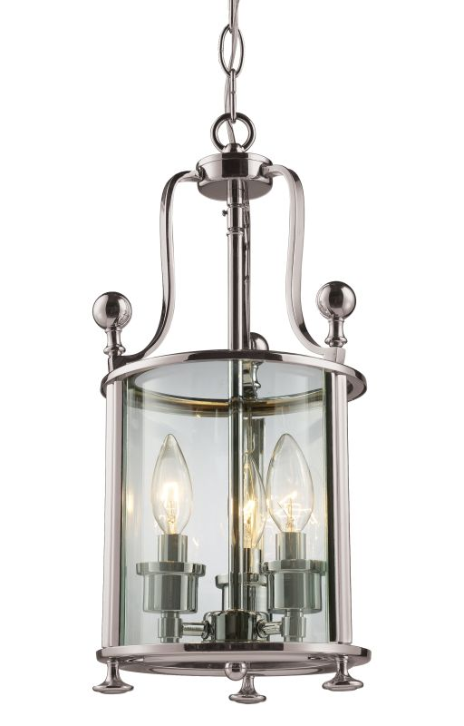 Z-Lite 191-3 Wyndham 3 Light Mini Pendant with Clear Shade Brushed