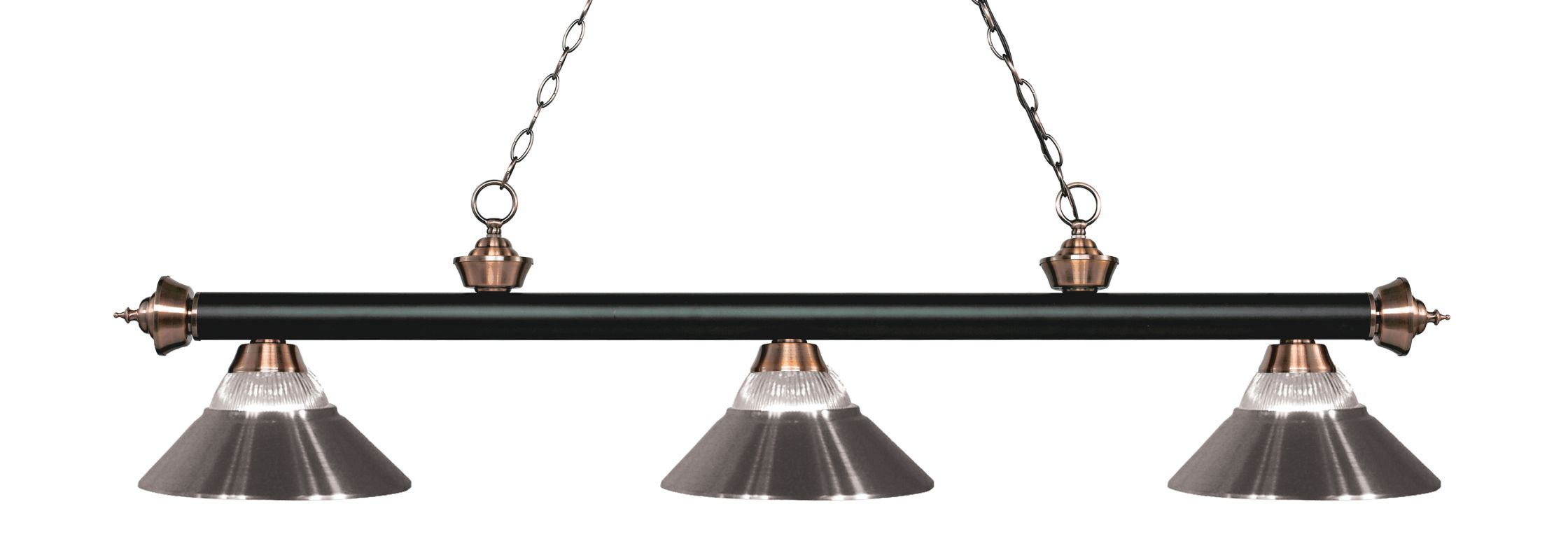 Z-Lite 200-3-RBN Riviera 3 Light Island/Billiard Chandelier with Clear Sale $370.00 ITEM: bci2734560 ID#:200-3MB+AC-RBN UPC: 685659053302 :