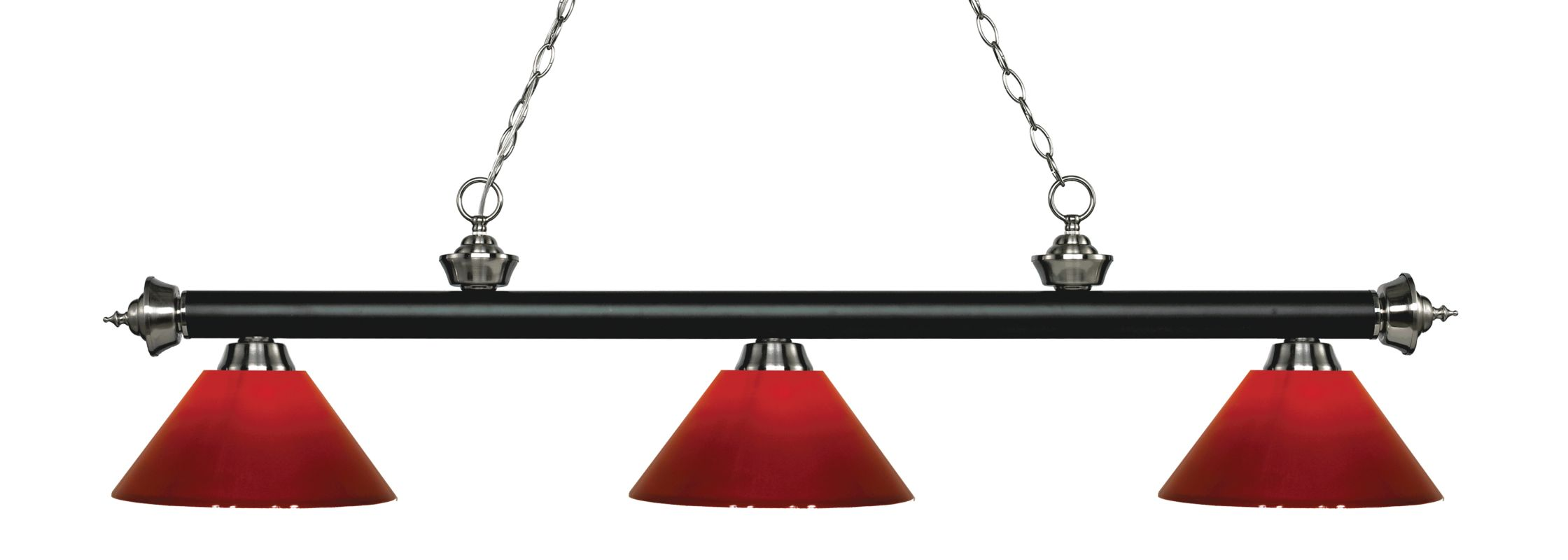 Z-Lite 200-3-PRD Riviera 3 Light Island/Billiard Chandelier with Red Sale $296.00 ITEM: bci2734550 ID#:200-3MB+BN-PRD UPC: 685659053876 :
