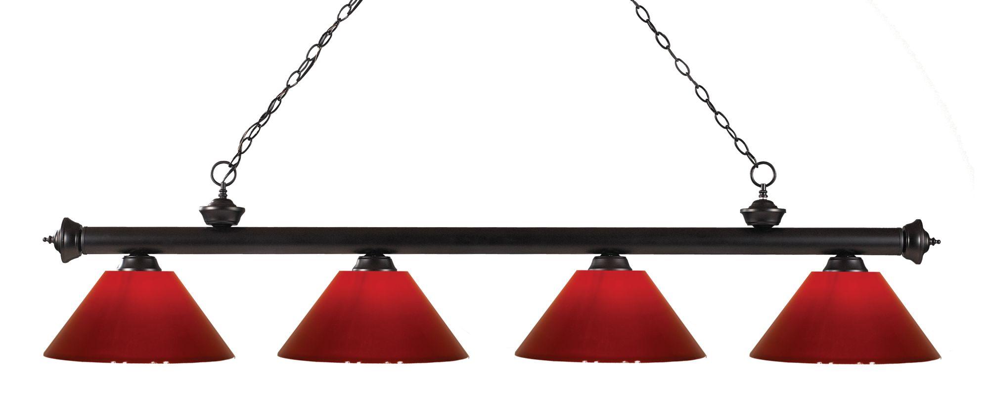 Z-Lite 200-4-PRD Riviera 4 Light Island/Billiard Light with Red Sale $352.00 ITEM: bci2564659 ID#:200-4BRZ-PRD UPC: 685659041842 :