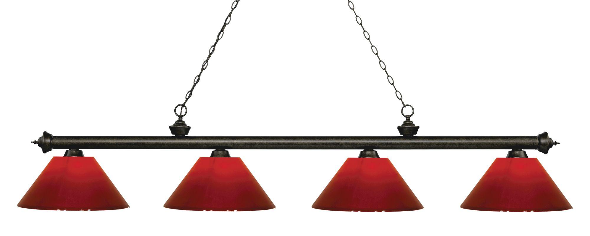 Z-Lite 200-4-PRD Riviera 4 Light Island/Billiard Light with Red Sale $362.00 ITEM: bci2758263 ID#:200-4GB-PRD UPC: 685659059632 :