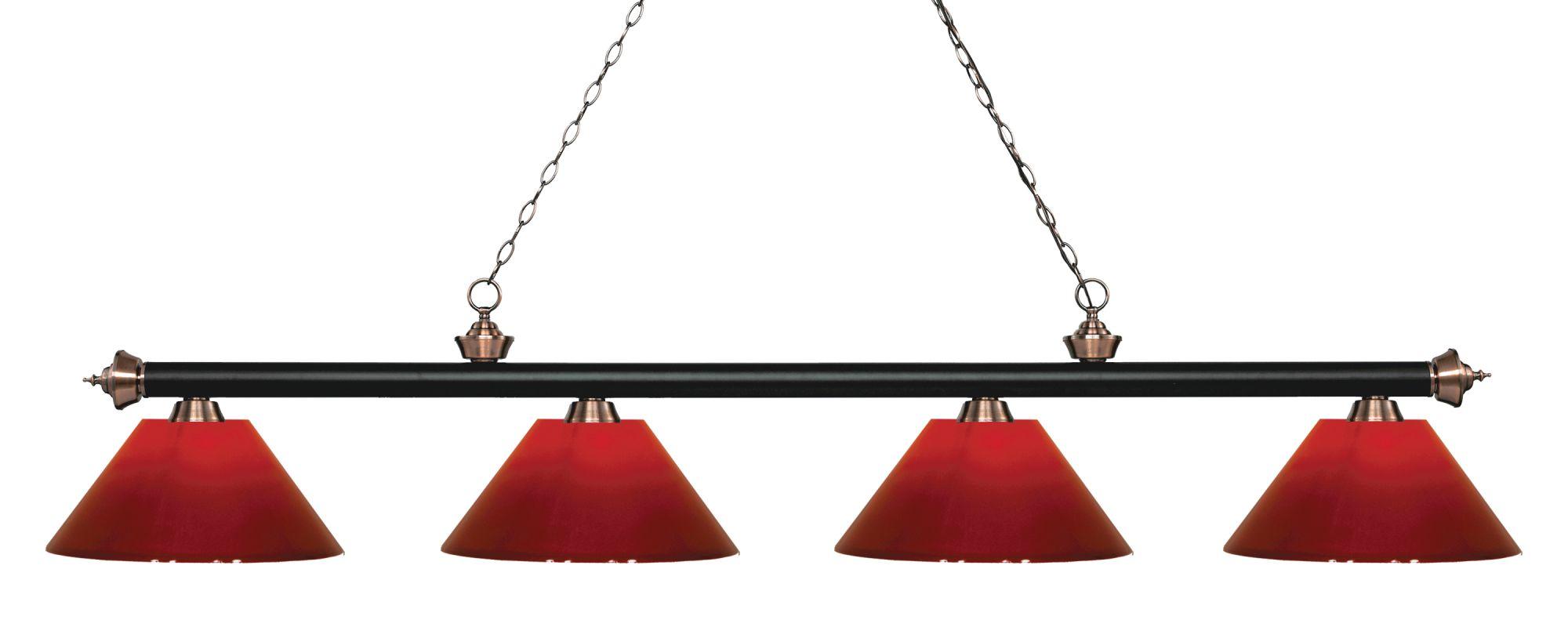 Z-Lite 200-4-PRD Riviera 4 Light Island/Billiard Light with Red Sale $362.00 ITEM: bci2758310 ID#:200-4MB+AC-PRD UPC: 685659060133 :
