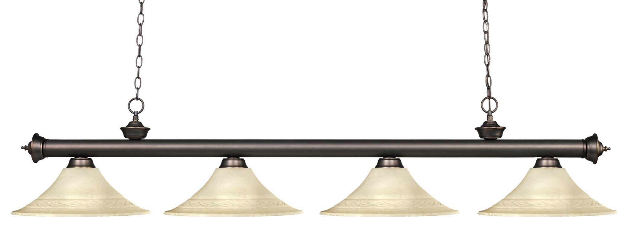 Z-Lite 200-4-FGM16 Riviera 4 Light Island/Billiard Light with Fluted
