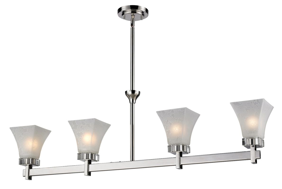Z-Lite 319-4 Pershing 4 Light Chandelier with White Watermark Glass