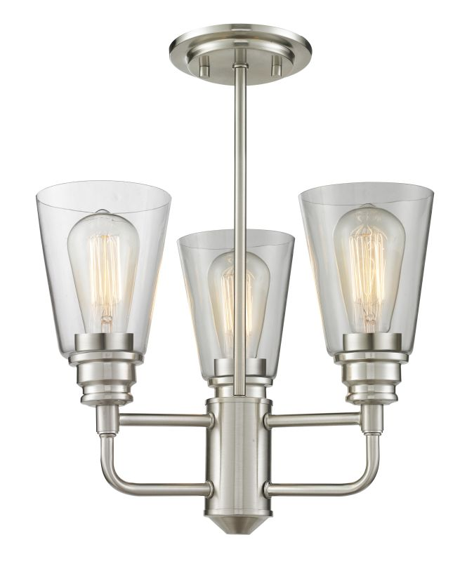 Z-Lite 428SF Annora 3 Light Semi-Flush Ceiling Fixture Brushed Nickel