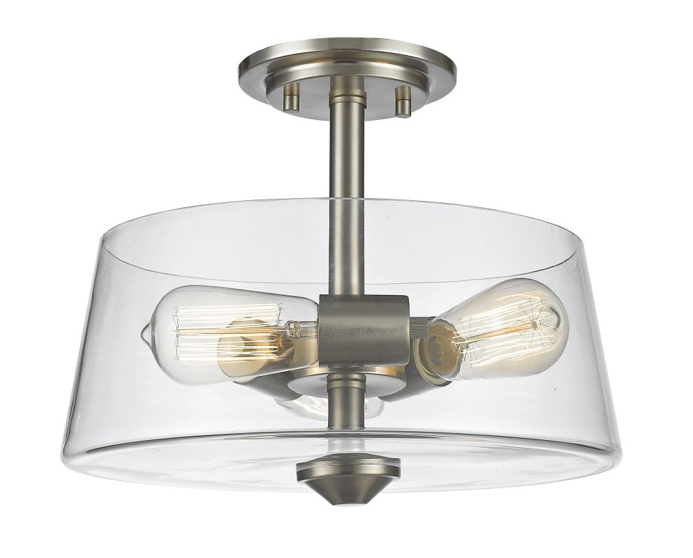 Z-Lite 428SF3 Annora 3 Light Semi Flush Ceiling Fixture with Clear