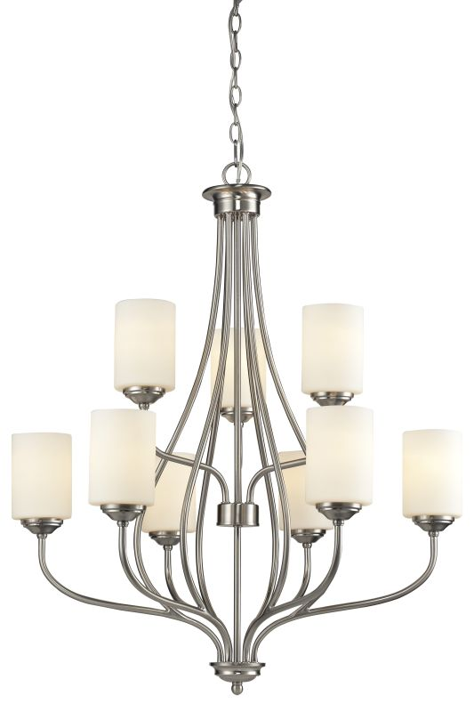 Z-Lite 434-9 Cardinal 9 Light Chandelier Brushed Nickel Indoor Sale $460.00 ITEM: bci2614119 ID#:434-9-BN UPC: 685659038033 :