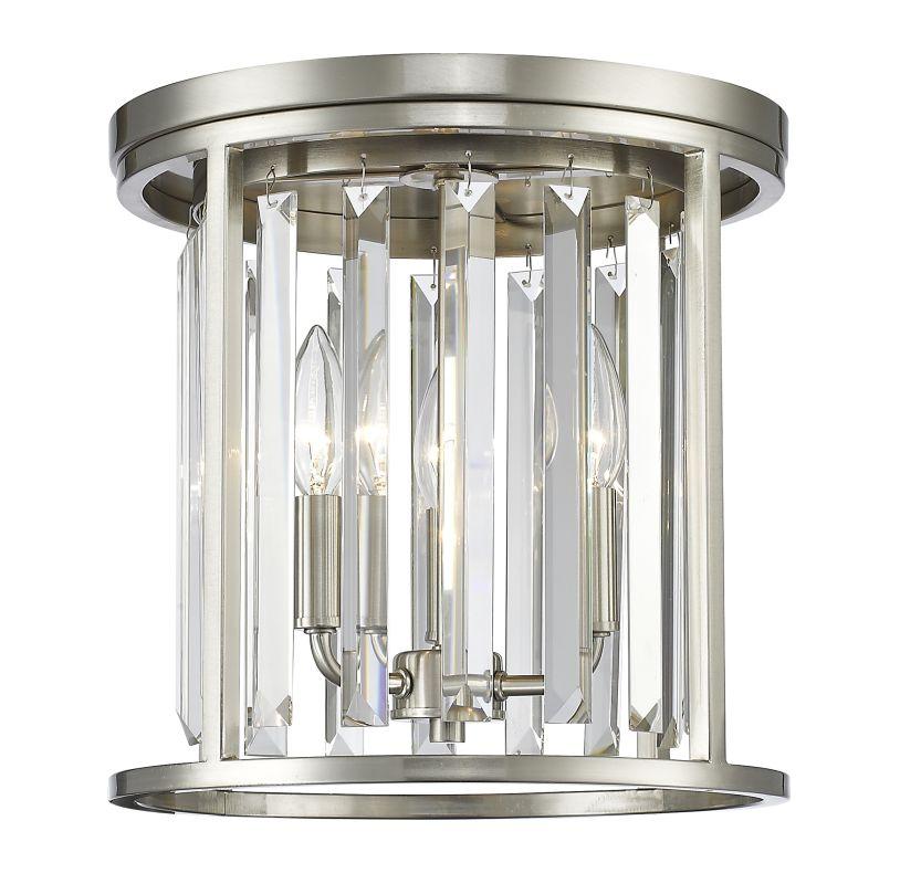 Z-Lite 439F12 Monarch 3 Light Flush Mount Ceiling Fixture Brushed