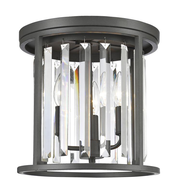Z-Lite 439F12 Monarch 3 Light Flush Mount Ceiling Fixture Bronze