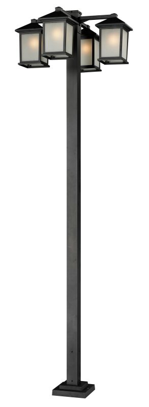 Z-Lite 507-4-536P Holbrook 4 Light Outdoor Post Light with White Seedy