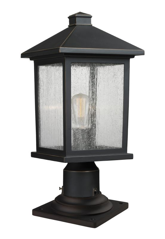 "Z-Lite 531PHMR-533PM Portland 17.75"" Tall 1 Light Outdoor Lantern Pier"