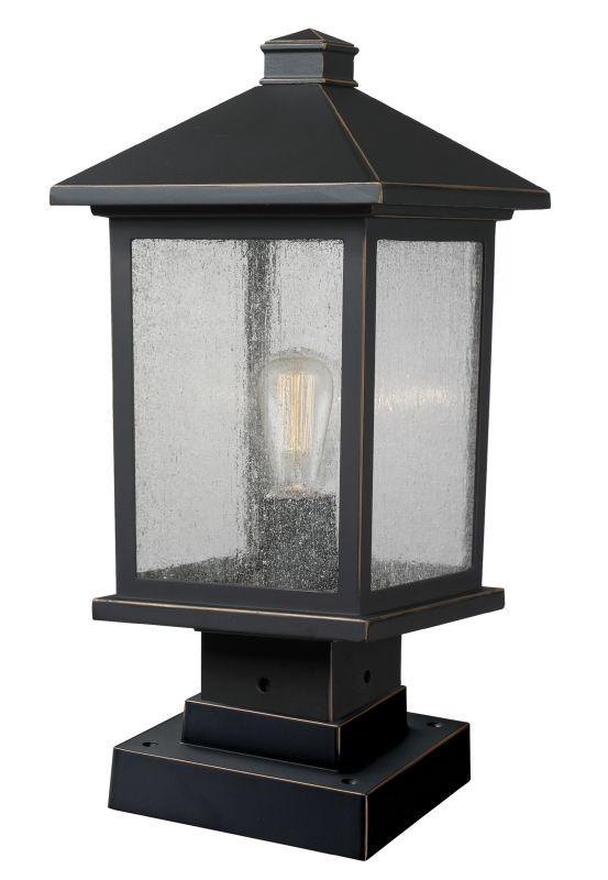 "Z-Lite 531PHMS-SQPM Portland 16.875"" Tall 1 Light Outdoor Lantern Pier"