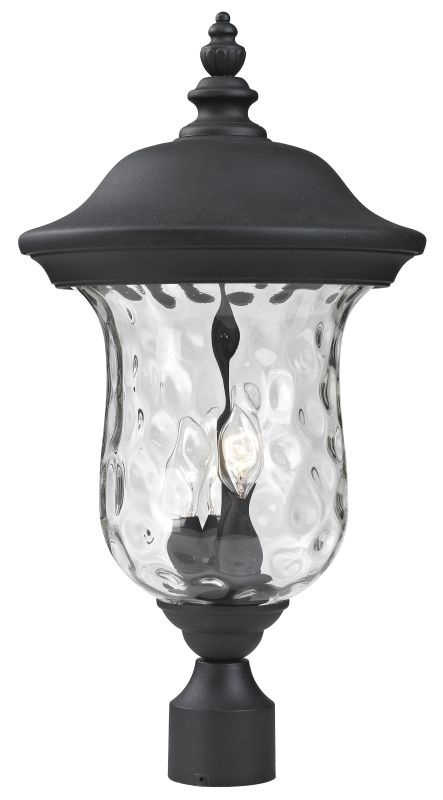Z-Lite 533PHB Armstrong 3 Light Outdoor Post Light with Clear Water