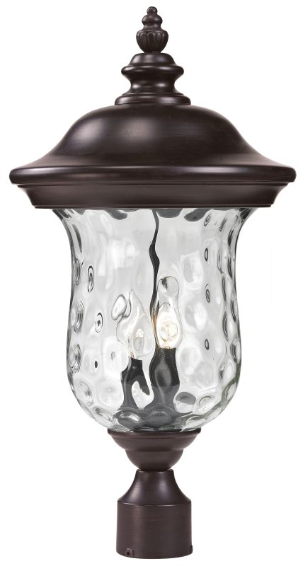Z-Lite 533PHM Armstrong 2 Light Outdoor Post Light with Clear Water