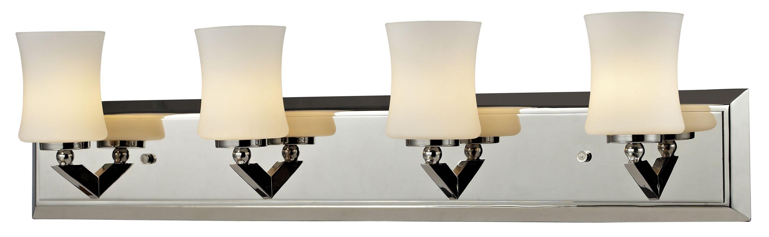 Z-Lite 608-4V Elite 4 Light Bathroom Vanity Light with Matte Opal