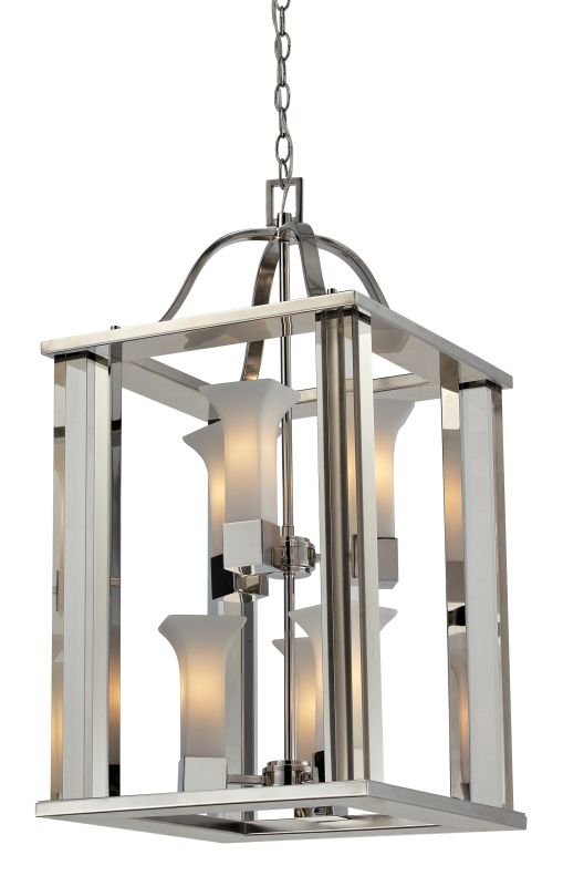 Z-Lite 611-30 Lotus 6 Light Full Sized Pendant with Matte Opal Shade