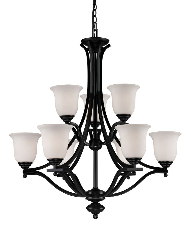 Z-Lite 702-9 Lagoon 9 Light 2 Tier Chandelier with Matte Opal Shade