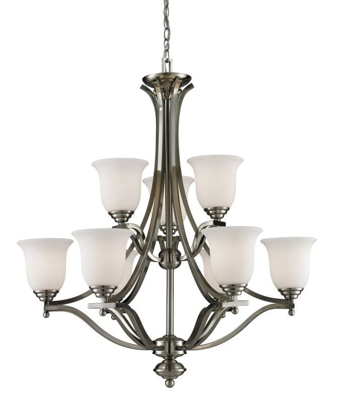 Z-Lite 704-9 Lagoon 9 Light 2 Tier Chandelier with Matte Opal Shade