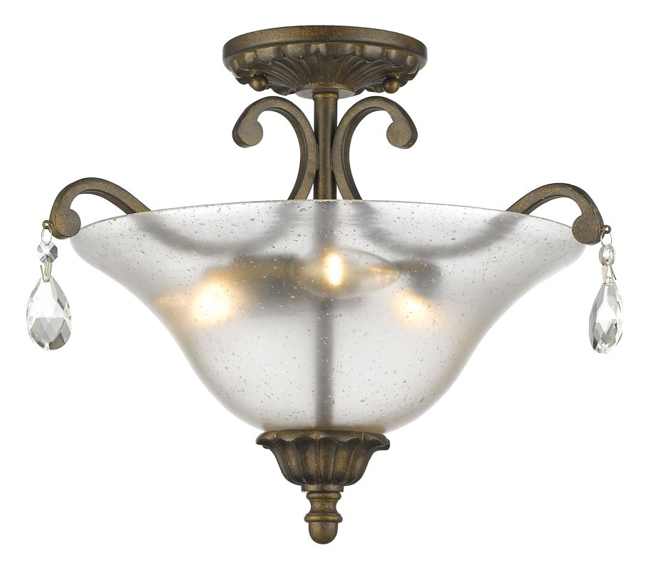 Z-Lite 720SF3 Melina 3 Light Semi Flush Ceiling Fixture with Bell