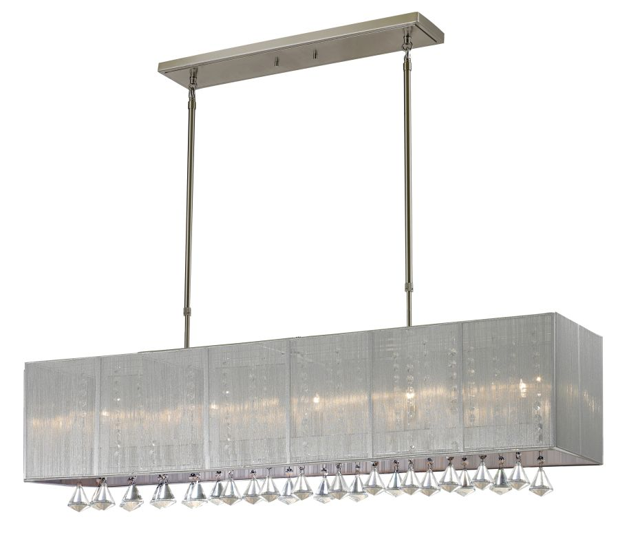 Z-Lite 892-45S Aura 5 Light Chandelier with Silver Shade Brushed