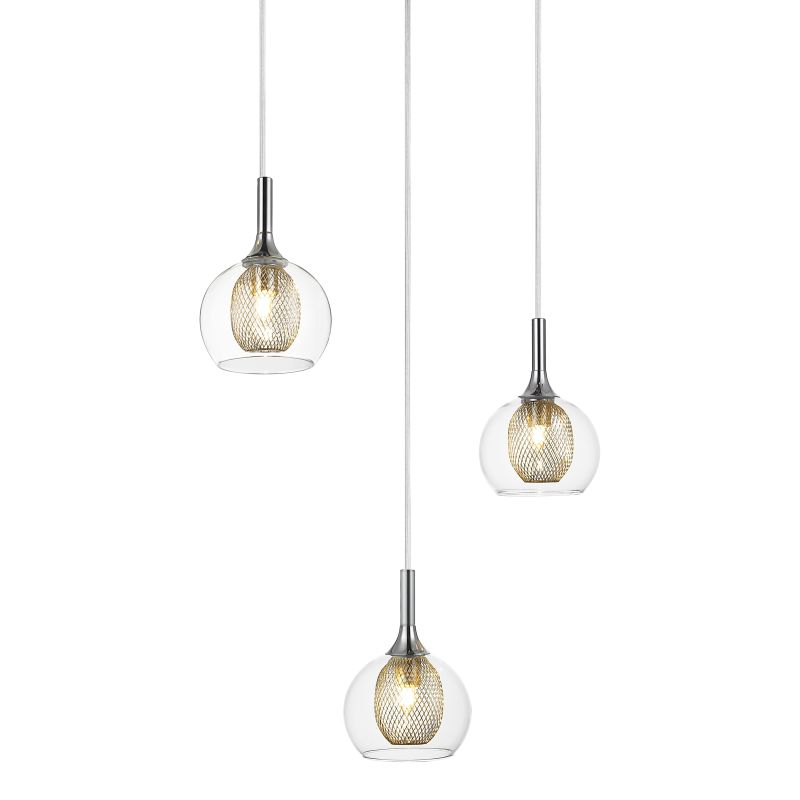 Z-Lite 905-3 Auge 3 Light Full Sized Pendant with Clear Shade Chrome