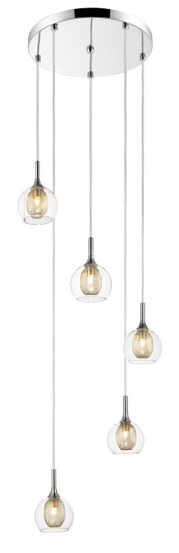 Z-Lite 905-5 Auge 5 Light Full Sized Pendant with Clear Shade Chrome