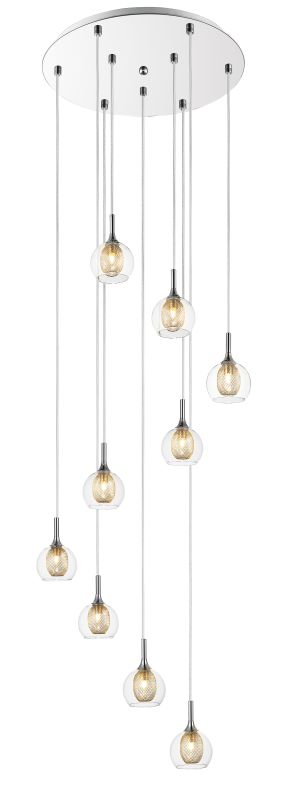 Z-Lite 905-9 Auge 9 Light Full Sized Pendant with Clear Shade Chrome