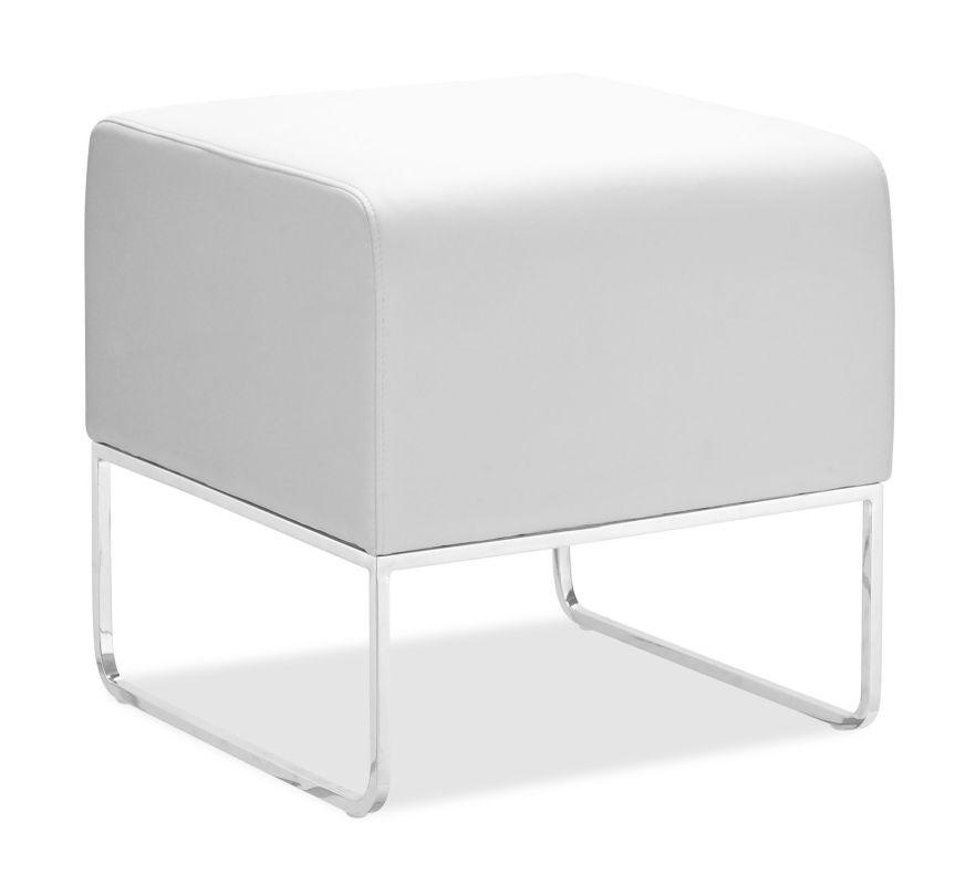 Zuo Modern Plush Ottoman Plush Contemporary Ottoman White Furniture
