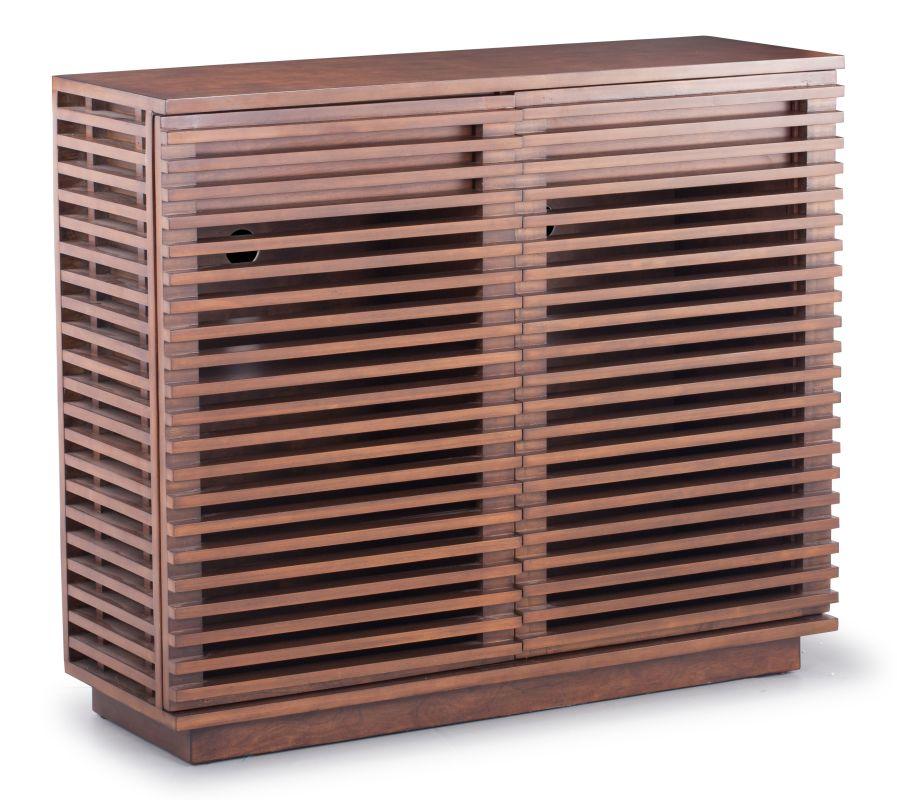 Zuo Modern Linea Cabinet Linea Solid Fir Wood Cabinet Walnut Furniture
