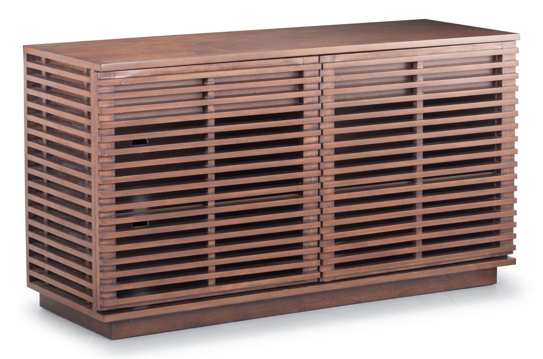 Zuo Modern Linea Credenza Linea Solid Fir Wood Credenza Walnut