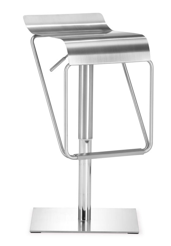 Zuo Modern Dazzer Barstool Dazzer Adjustable Height Barstool Brushed