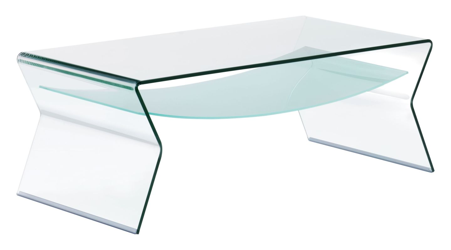 Zuo Modern Yoga Coffee Table Yoga Coffee Table Clear and Frosted