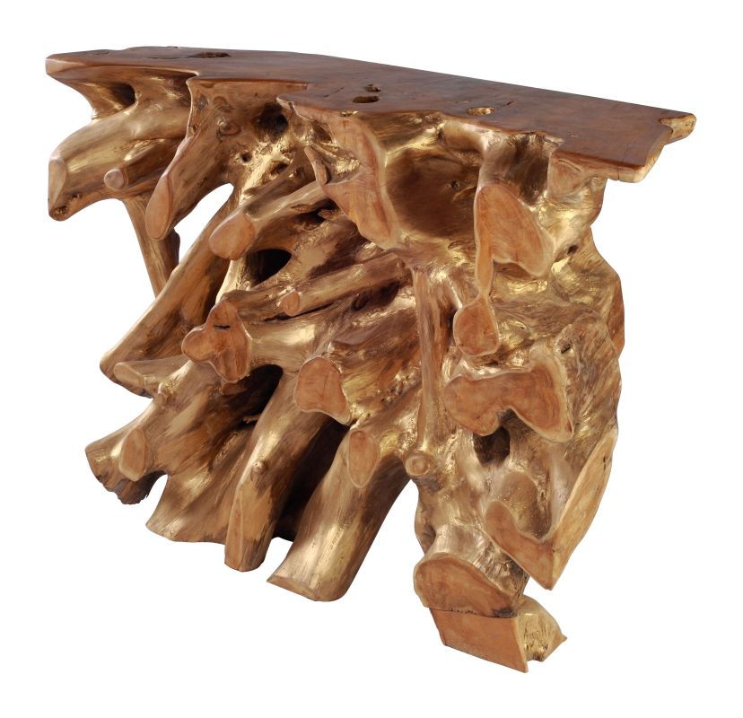 Zuo Modern Dino Console Table Dino Teak Console Table Natural and