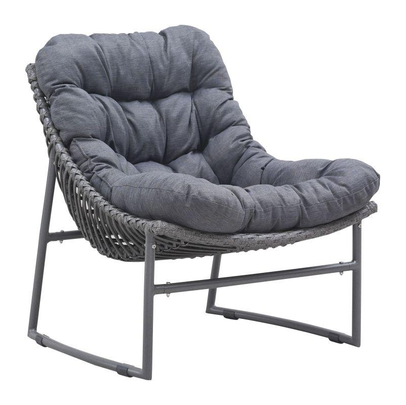 Zuo Modern Ingonish Beach Chair Ingonish Outdoor Beach Chair Grey