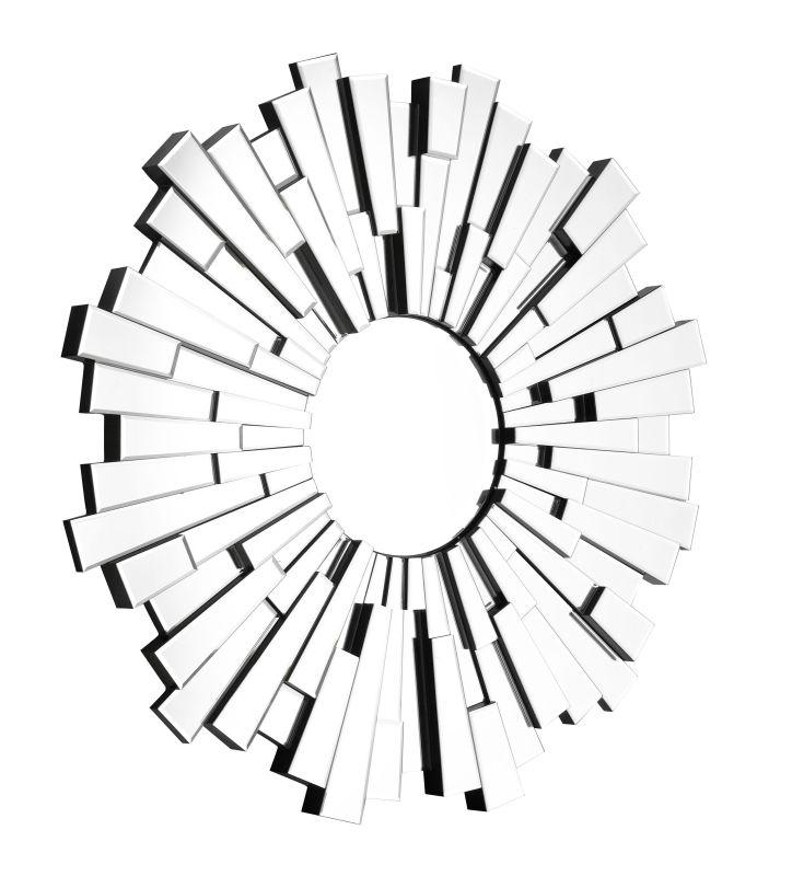 Zuo Modern Burst Mirror Burst Frameless Sunburst Circular Mirror Clear