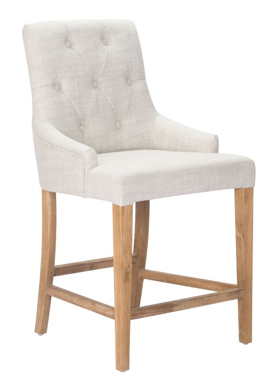 Zuo Modern Burbank Counter Chair Burbank Oak Barstool Beige Furniture