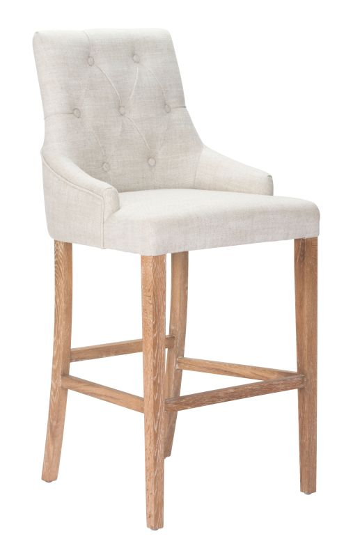 Zuo Modern Burbank Bar Chair Burbank Oak Barstool Beige Furniture Bar