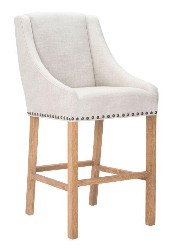 Zuo Modern Indio Bar Chair Indio Oak Barstool Beige Furniture Bar